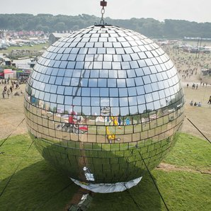 The world's biggest mirrorball at Bestival 2014
