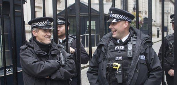 Laughing Policemen stock image