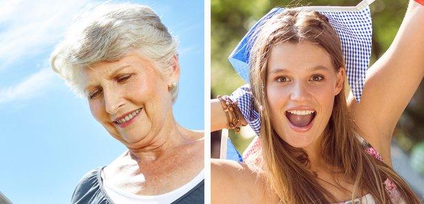 Stock images grandma and festival-goer splitscreen