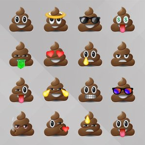 Poop Emoji Stock Image with Radio x grey backgroun