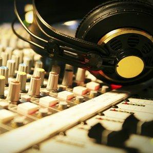 Headphones on mixing desk