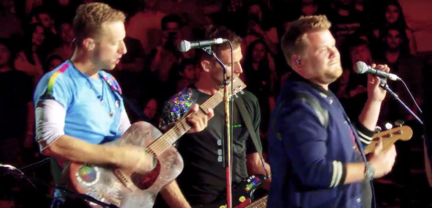 James Corden and Coldplay on stage LA Rose