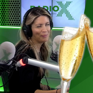 Pippa with Prosecco Chris Moyles show