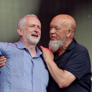Jeremy Corbyn and Michael Eavis at Glastonbury 201